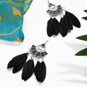 Boho Fan Shaped Black Feather Earrings